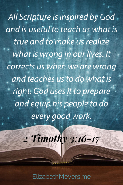 All Scripture is inspired by God and is useful to teach us what is true and to make us realize what is wrong in our lives. It corrects us when we are wrong and teaches us to do what is right. God uses it to prepare and equip his people to do every good work. ~ 2 Timothy 3:16-17, NLT